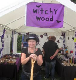 The Delightful Samantha with her wood craft stall